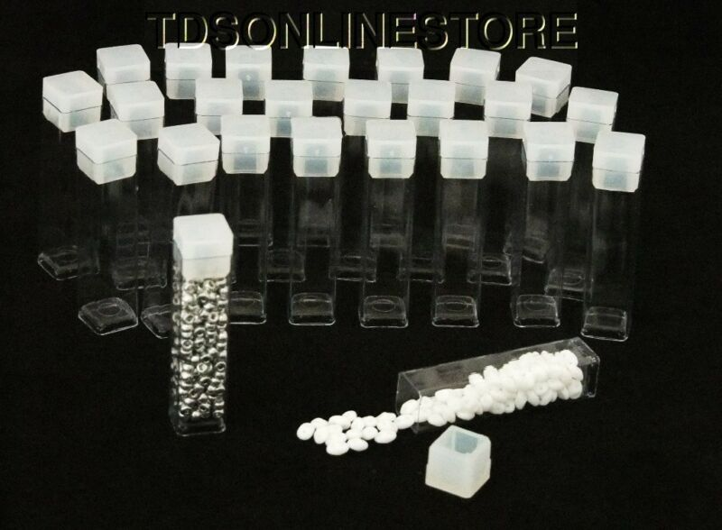 """Package of 100 Square Clear Plastic Storage Tubes 2"""" Tall"""