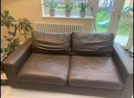 John Lewis 2 Seater Sofa, Brown Leather