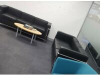 Two Le Corbusier Faux Leather Black Two Seater Sofas
