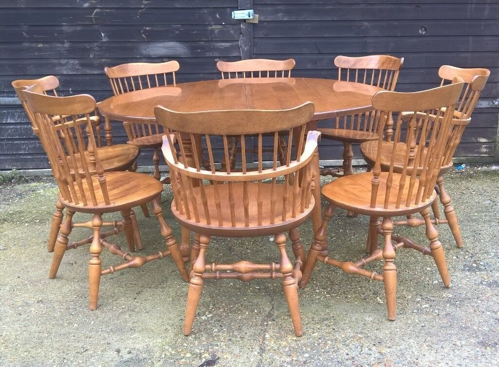 Vintage Extending Drop Leaf Solid Maple Round Dining Table Eight Chairs Free Delivery Oak