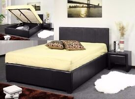 ''Cheapest Offer'' DOUBLE LIFT UP STORAGE LEATHER BED WITH SEMI ORTHOPAEDIC MATTRESS FOR SALE