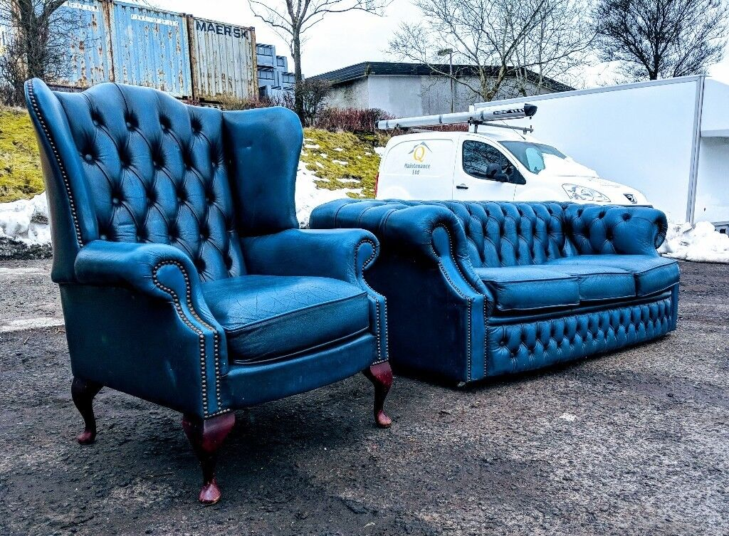 Antique Blue Leather Chesterfield Sofas Couch Suite Delivery Available