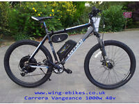 Electric Mountain Bike - Wing Grey Trakehner - 48v 1000w - Very Fast -Top Spec. 12ah Li-on Battery