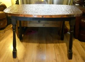 Copper Top Pub Table oval shape unusual
