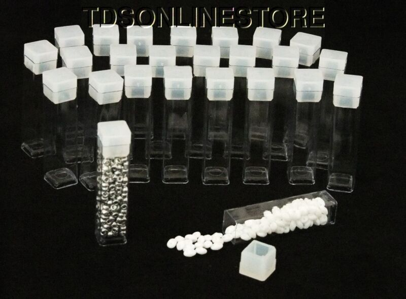 """Pack of 25 Square Clear Plastic Storage Tubes 2"""" Tall"""