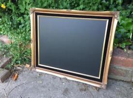 Gold chalkboard menu with black velvet trim