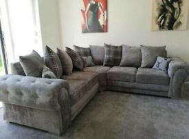 GRAB THE BEST-VERONA CHESTERFIELD GREY PLUSH FABRIC CORNER SOFA SUITE OR 3+2 SETTEE ON SALE
