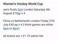 Womans Hockey World Cup Tickets
