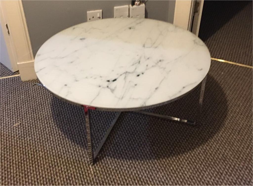 Next novaro coffee table glass marble effect round for Coffee tables 80cm wide