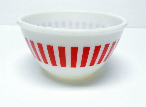 "Vintage Hazel Atlas Red Candy Stripe Mixing Bowl 6"" Nice One!"