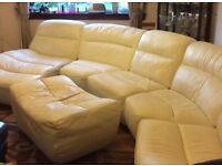 6 PIECE SECTIONAL CREAM LEATHER SOFA