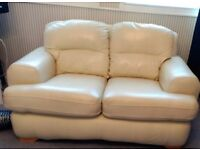 2 cream leather sofas perfect condition 1 x 3seater 1x 2 seater