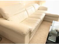 Genuine Italian leather L-shape sofa with head rest (by Sofitalia). Ivory color. Excellent condition