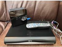 Sky HD Plus Box and Sky WiFi Home Hub, power cables and remote