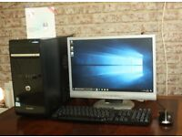 HP Desktop Computer SET w LCD Monitor speaker, 300mbps WIFI Speakers Keyboard Mouse Bundle PC