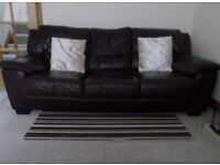 Immaculate Brown Leather Sofa - 3 + 2