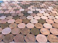 Penny Floor Mosaic Mesh. pennies coin tile