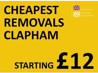 CHEAPEST CLAPHAM Man & Van. Starting £12! Save 80%! UK Govt. approved.