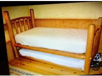 Stunning Hand Made Canadian Solid Wood Lodge Pole Bed With Pull-Out Trundle