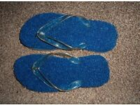 Ladies blue and clear bath/shower flip flops