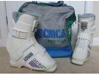 Ladies white German made ski boots