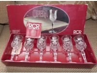 Set of 6 RCR (Royal Crystal Rock) Opera 24% lead crystal Italian cordial/liqueur glasses