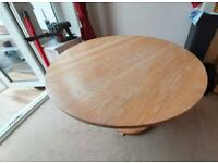 Solid Oak dining table and 4 high backed chairs for sale