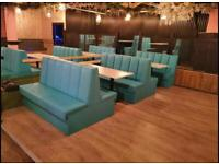 Bench Seating Booth Seating Bespoke Upholstery Restaurant Club Pubs Salons cafe and takeaway shops