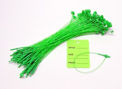 100 Green Tags With String Merchandise Price Jewelry Garment Store Paper Coupon
