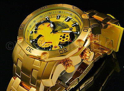 New Invicta Mens Pro Diver Scuba 3 0 Chrono 18K Gold Plated Gold Dial S S Watch