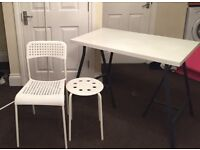 WHITE IKEA DESK + CHAIR + STOOL (bought in this January) for just £10