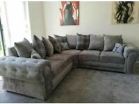 Spring Festive Sale-VERONA CHESTERFIELD GREY PLUSH FABRIC CORNER SOFA SUITE OR 3+2 SETTEE ON SALE