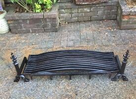 Very heavy fire grate & pair dogs.