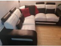 BLACK AND WHITE DESIGNER CORNER SOFA & FREE 2 SEATER FOR SALE-MUST GO ASAP QUICK DELIVERY - £325