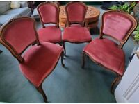 SET OF 4 WOODEN PINK FABRIC PADDED DINING TABLE CHAIRS