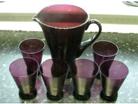 Maroon Glass Punch Jug and 6 Serving Glasses
