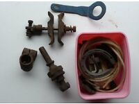 BUNDLE OF 1960's MOTORCYCLE SIDE CAR MOUNTINGS and ASSORTED BITS