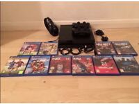 PS4 BUNDLE WITH EXTRA • 10 GAMES • 2 CONTROLLER • 2 CHARGERS • HEADSET •
