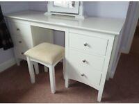 M&S White Dressing Table, Stool & Mirror