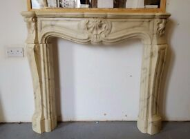 Marble effect fire surround, with marble back and base, plus iron grate
