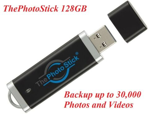 ThePhotoStick 128GB Easy One Click Photo and Video Backup 128GB Mac Windows