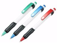 Wholesale 50 Quality Rubber Grip Ballpoint Pens in Assorted Colours for Home, School and Office