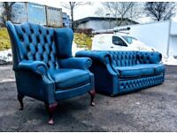 Antique blue leather chesterfield sofas|couch|suite DELIVERY AVAILABLE