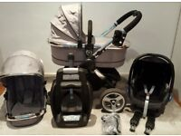 iCandy Peach Silver Mint Pram Pushchair Travel System Stroller Maxi Cosi Car Seat and EasyFix base