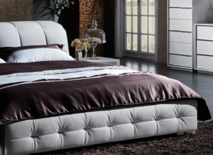 Headboard Bed Frame X2 Smoked Mirrored Side Tables Beds - Logan-leather-bed-with-adjustable-headboard