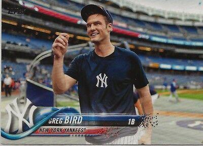 Greg Bird 2018 Topps Series 2 SP Photo Variation #515 Yankees Short Print
