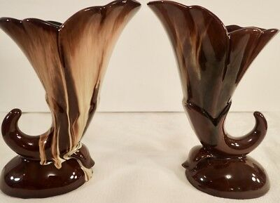 "CCC Pottery Canadian Ceramic Craft 2 Cornucopia Vases Brown Beige Drip Glaze 6"""