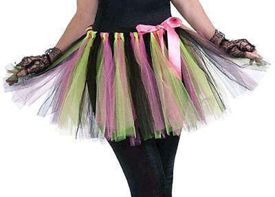 Neon Tutu 80's Retro Pop Star Fancy Dress Up Halloween Adult Costume Accessory