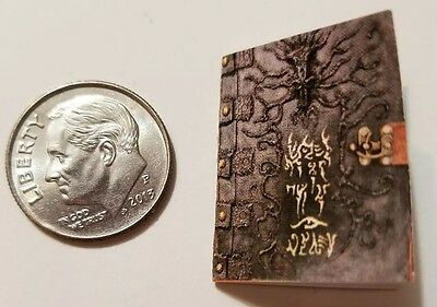 "Miniature dollhouse Halloween book  1/12 Scale   1"" Necronomicron Witch spells"
