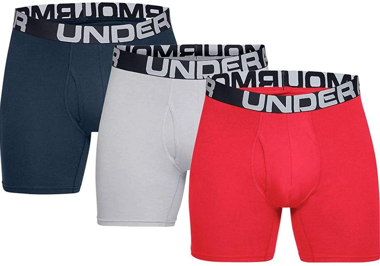 "Under Armour Assorted Colors 3-Pk 6"" Boxer Briefs Underwear"